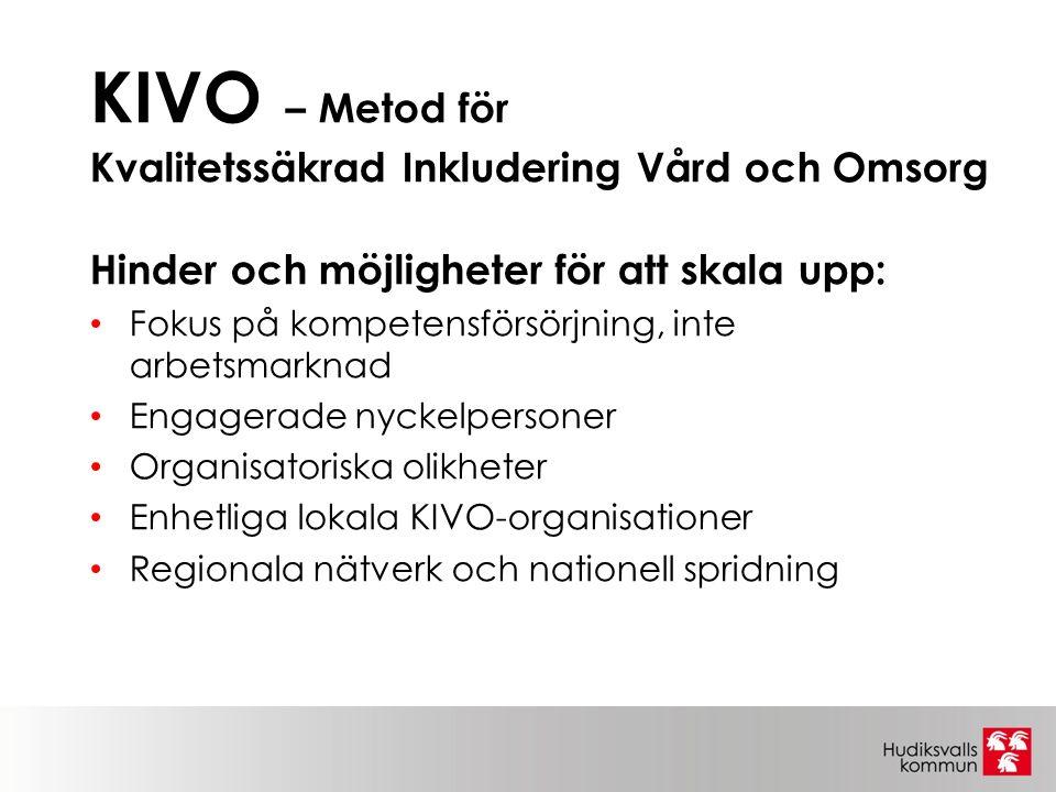 KIVO – Metod för Kvalitetssäkrad Inkludering Vård och Omsorg Hinder och möjligheter för att skala upp: Fokus på kompetensförsörjning, inte arbetsmarknad Engagerade nyckelpersoner Organisatoriska olikheter Enhetliga lokala KIVO-organisationer Regionala nätverk och nationell spridning