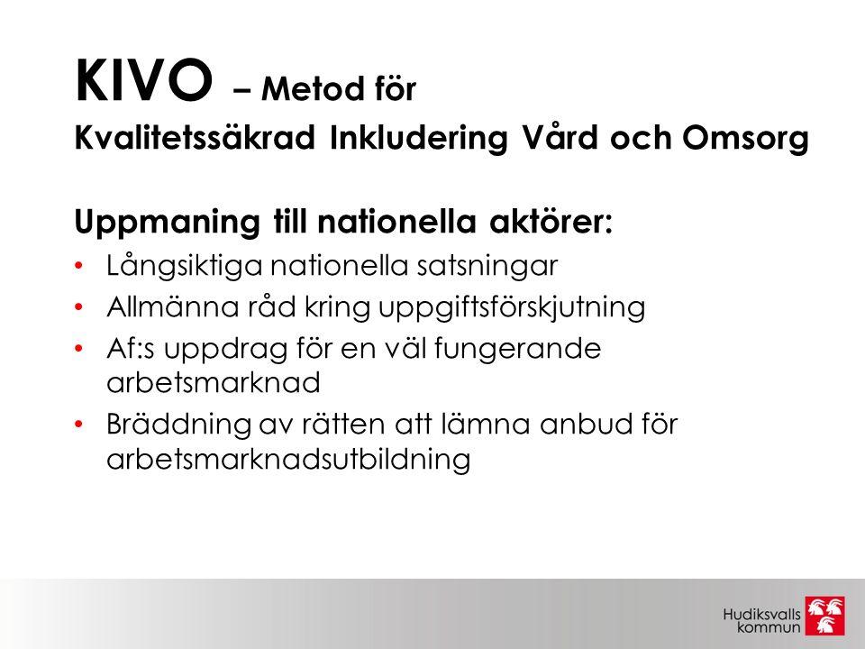 KIVO – Metod för Kvalitetssäkrad Inkludering Vård och Omsorg Uppmaning till nationella aktörer: Långsiktiga nationella satsningar Allmänna råd kring uppgiftsförskjutning Af:s uppdrag för en väl fungerande arbetsmarknad Bräddning av rätten att lämna anbud för arbetsmarknadsutbildning