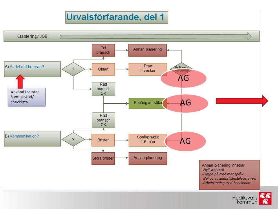 Använd i samtal: Samtalsstöd/ checklista Använd i samtal: Samtalsstöd/ checklista AG