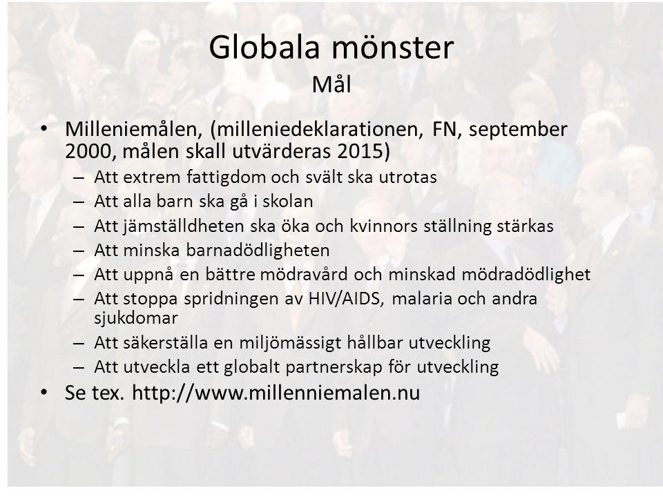 Globala mönster Mål Milleniemålen, (milleniedeklarationen, FN, september 2000, målen skall utvärderas 2015) – Att extrem fattigdom och svält ska utrot