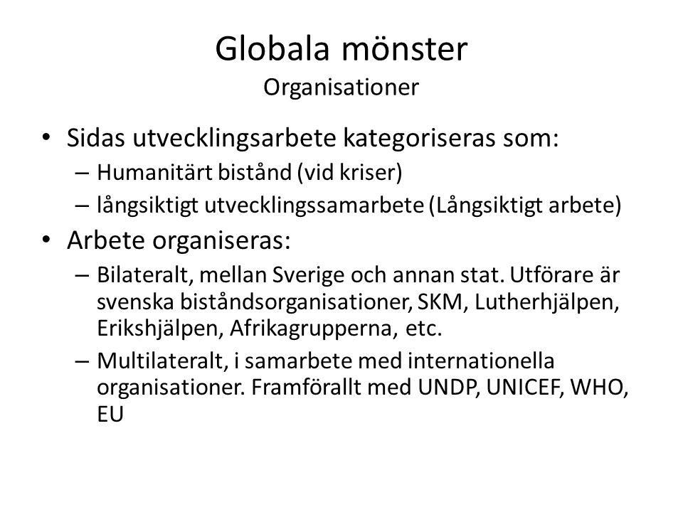 Globala mönster Organisationer Sidas utvecklingsarbete kategoriseras som: – Humanitärt bistånd (vid kriser) – långsiktigt utvecklingssamarbete (Långsiktigt arbete) Arbete organiseras: – Bilateralt, mellan Sverige och annan stat.