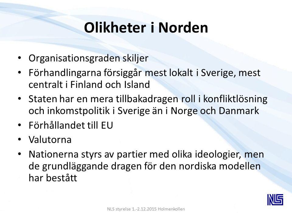Olikheter i Norden Organisationsgraden skiljer Förhandlingarna försiggår mest lokalt i Sverige, mest centralt i Finland och Island Staten har en mera tillbakadragen roll i konfliktlösning och inkomstpolitik i Sverige än i Norge och Danmark Förhållandet till EU Valutorna Nationerna styrs av partier med olika ideologier, men de grundläggande dragen för den nordiska modellen har bestått NLS styrelse 1.-2.12.2015 Holmenkollen