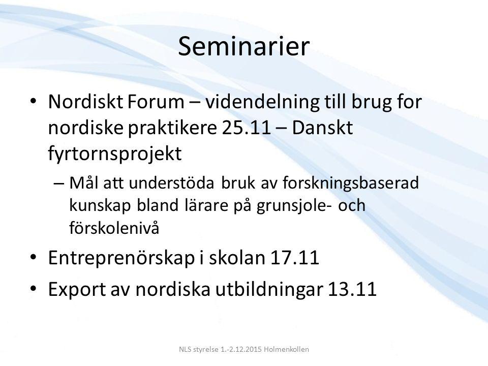 Förutsättningar för den nordiska modellen Parternas vilja att se att det finns ett sammanhang mellan välfärdsstat och den generella ekonomiska politiken Arbetsmarknadspolitikens mål bör vara låg arbetslöshet, små prisförhöjningar, hög tillväxt och jämn inkomstfördelning NLS styrelse 1.-2.12.2015 Holmenkollen