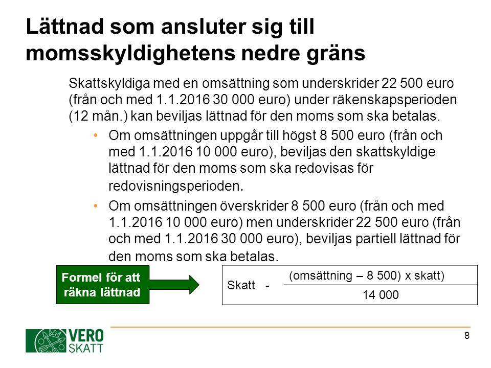 Lättnad som ansluter sig till momsskyldighetens nedre gräns Skattskyldiga med en omsättning som underskrider 22 500 euro (från och med 1.1.2016 30 000 euro) under räkenskapsperioden (12 mån.) kan beviljas lättnad för den moms som ska betalas.