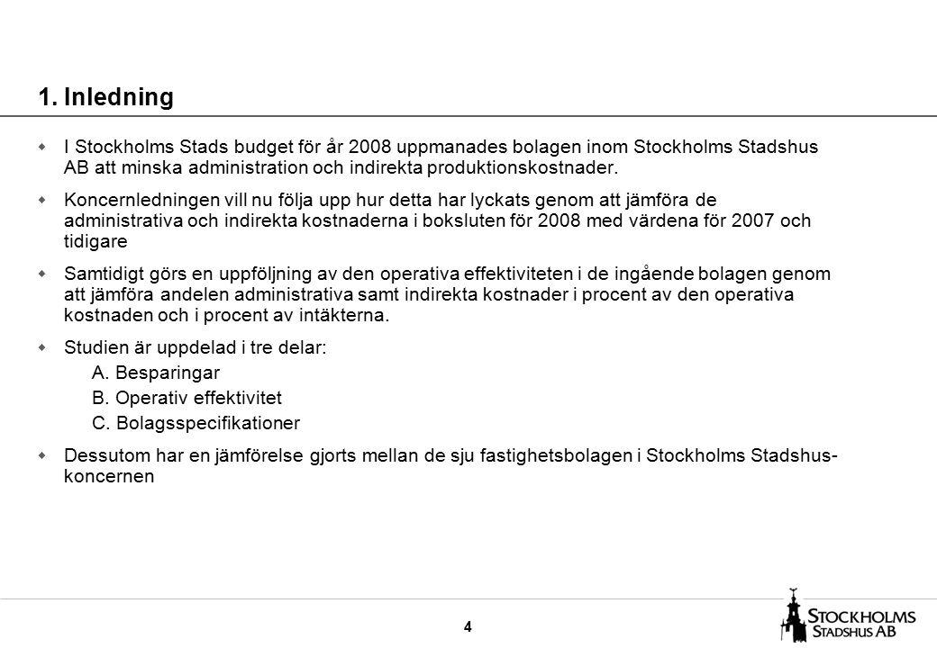 4 w I Stockholms Stads budget för år 2008 uppmanades bolagen inom Stockholms Stadshus AB att minska administration och indirekta produktionskostnader.