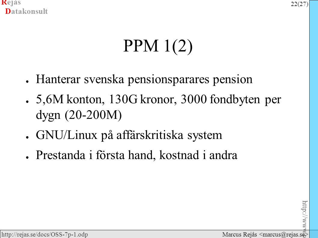 Rejås 22 (27) http://www.rejas.se – Fri programvara är enkelt http://rejas.se/docs/OSS-7p-1.odp Datakonsult Marcus Rejås PPM 1(2) ● Hanterar svenska pensionsparares pension ● 5,6M konton, 130G kronor, 3000 fondbyten per dygn (20-200M) ● GNU/Linux på affärskritiska system ● Prestanda i första hand, kostnad i andra