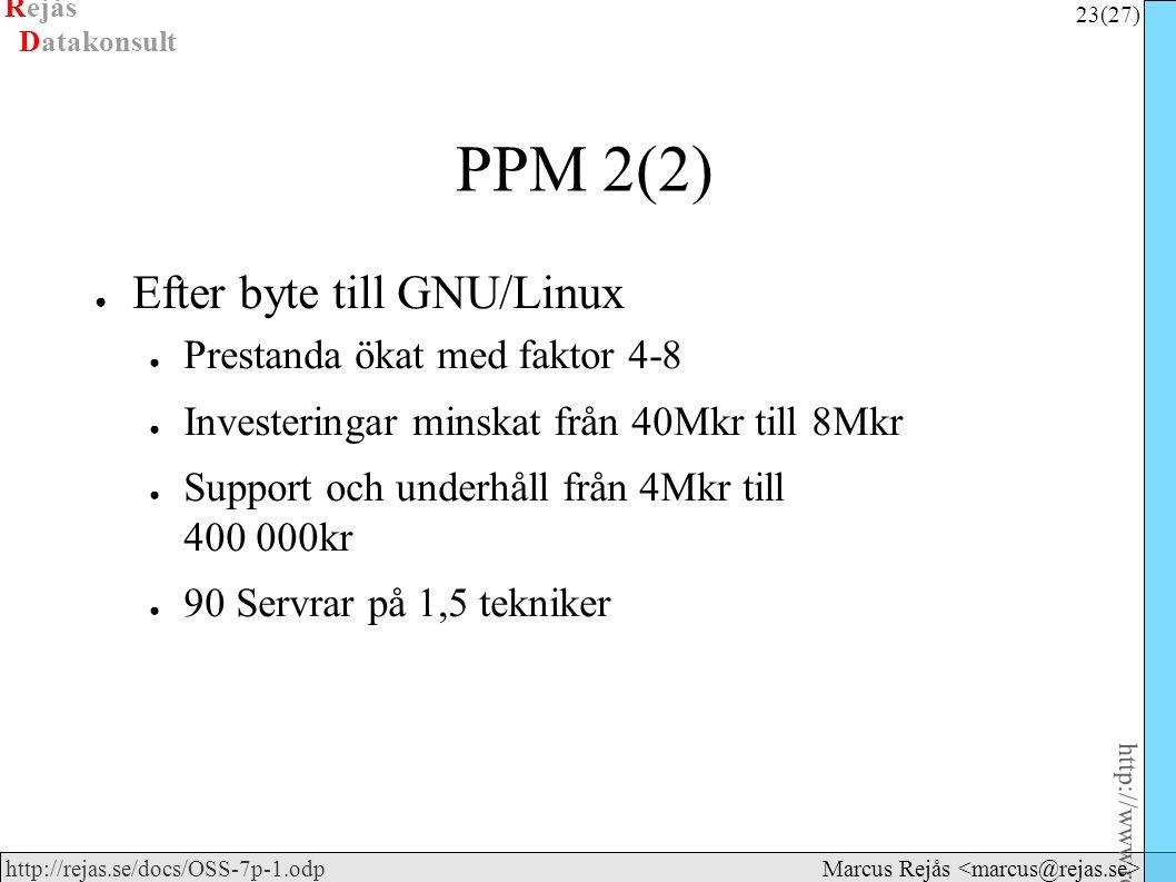 Rejås 23 (27) http://www.rejas.se – Fri programvara är enkelt http://rejas.se/docs/OSS-7p-1.odp Datakonsult Marcus Rejås PPM 2(2) ● Efter byte till GNU/Linux ● Prestanda ökat med faktor 4-8 ● Investeringar minskat från 40Mkr till 8Mkr ● Support och underhåll från 4Mkr till 400 000kr ● 90 Servrar på 1,5 tekniker