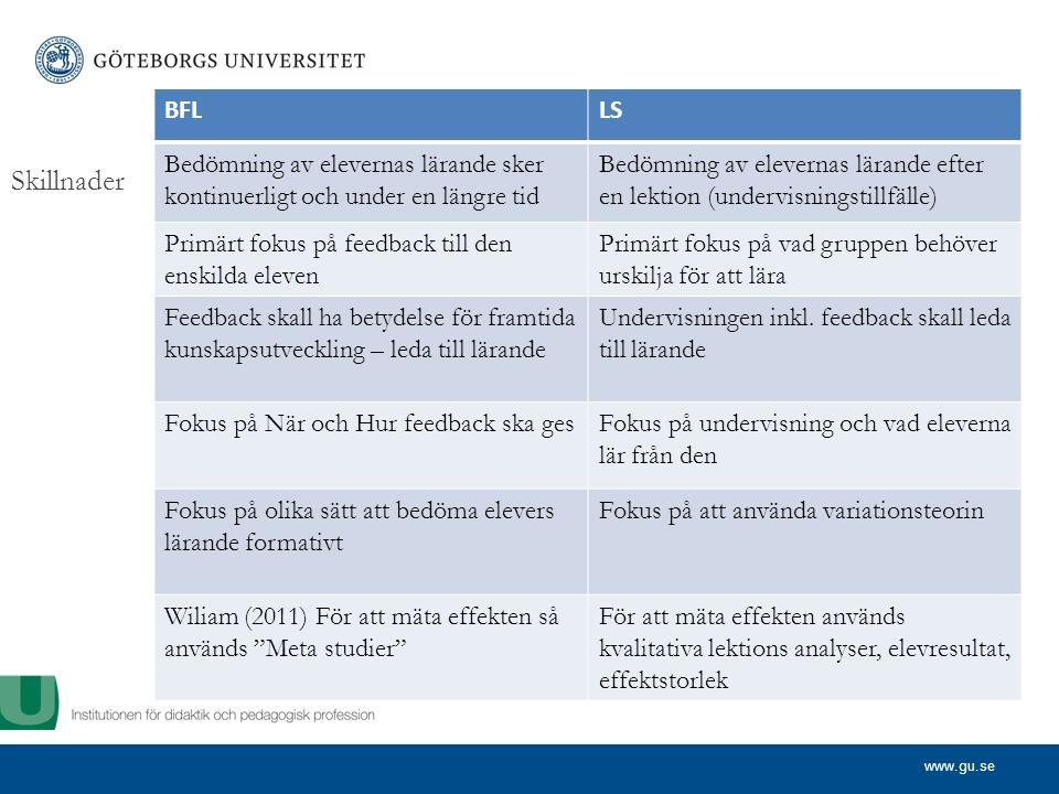 www.gu.se Skillnader BFLLS Bedömning av elevernas lärande sker kontinuerligt och under en längre tid Bedömning av elevernas lärande efter en lektion (