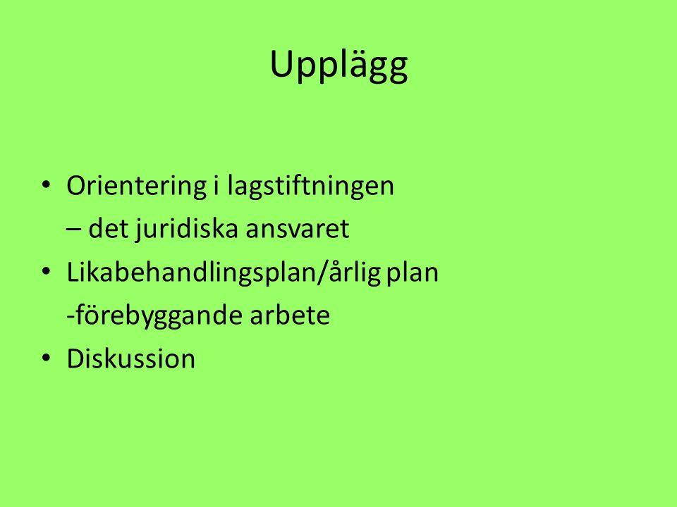 Upplägg Orientering i lagstiftningen – det juridiska ansvaret Likabehandlingsplan/årlig plan -förebyggande arbete Diskussion
