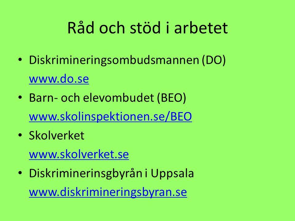 Råd och stöd i arbetet Diskrimineringsombudsmannen (DO) www.do.se Barn- och elevombudet (BEO) www.skolinspektionen.se/BEO Skolverket www.skolverket.se