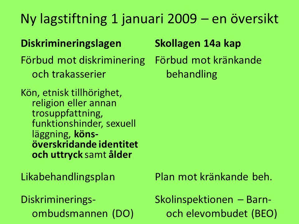 Ny lagstiftning 1 januari 2009 – en översikt Diskrimineringslagen Förbud mot diskriminering och trakasserier Kön, etnisk tillhörighet, religion eller