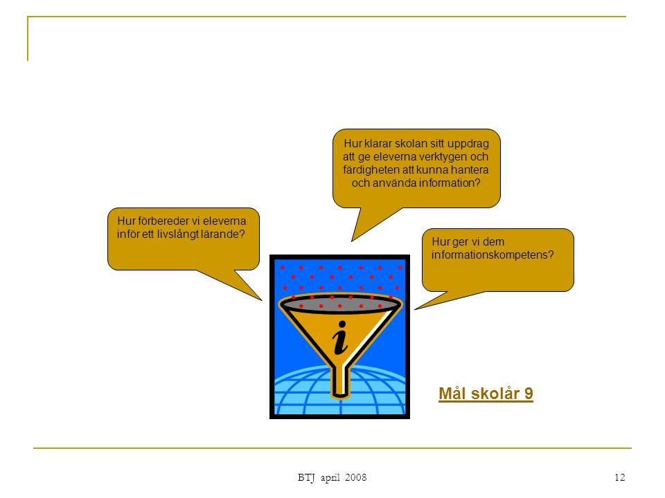 BTJ april 2008 12 Hur klarar skolan sitt uppdrag att ge eleverna verktygen och färdigheten att kunna hantera och använda information.