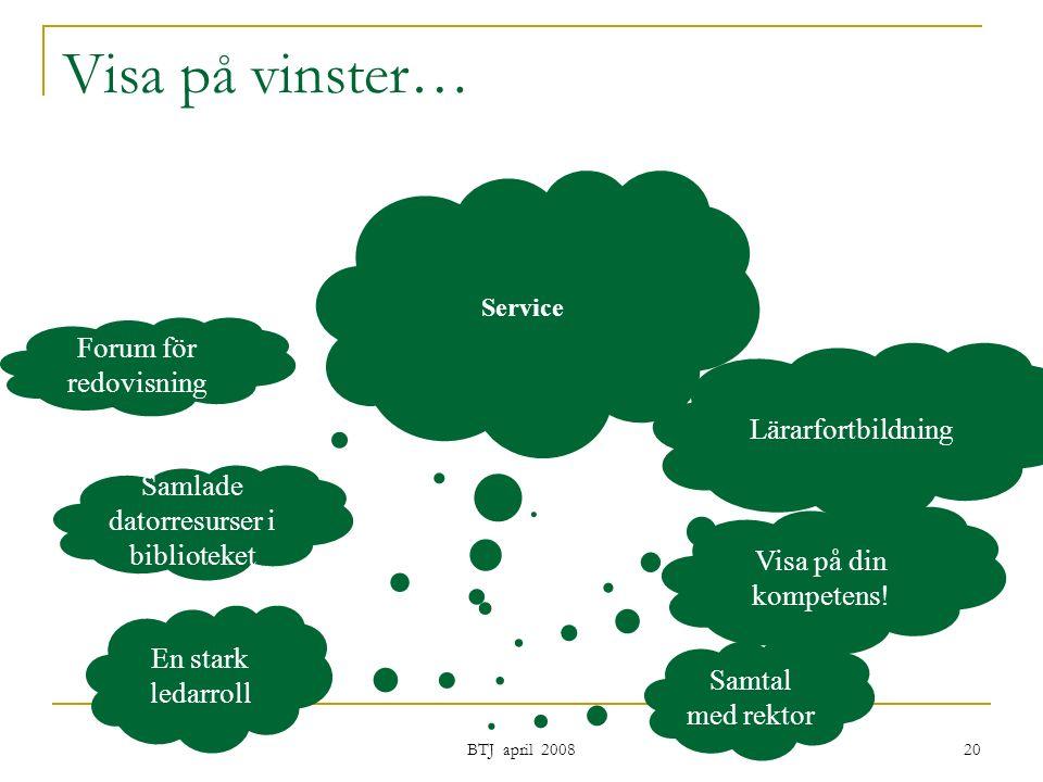 BTJ april 2008 20 Visa på vinster… Samtal med rektor En stark ledarroll Visa på din kompetens.