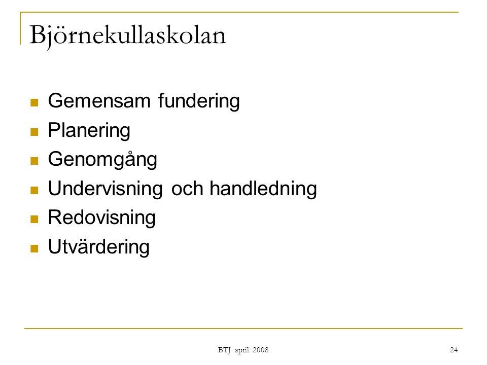 BTJ april 2008 24 Björnekullaskolan Gemensam fundering Planering Genomgång Undervisning och handledning Redovisning Utvärdering