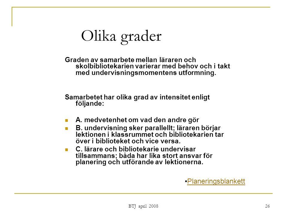 BTJ april 2008 26 Olika grader Graden av samarbete mellan läraren och skolbibliotekarien varierar med behov och i takt med undervisningsmomentens utformning.