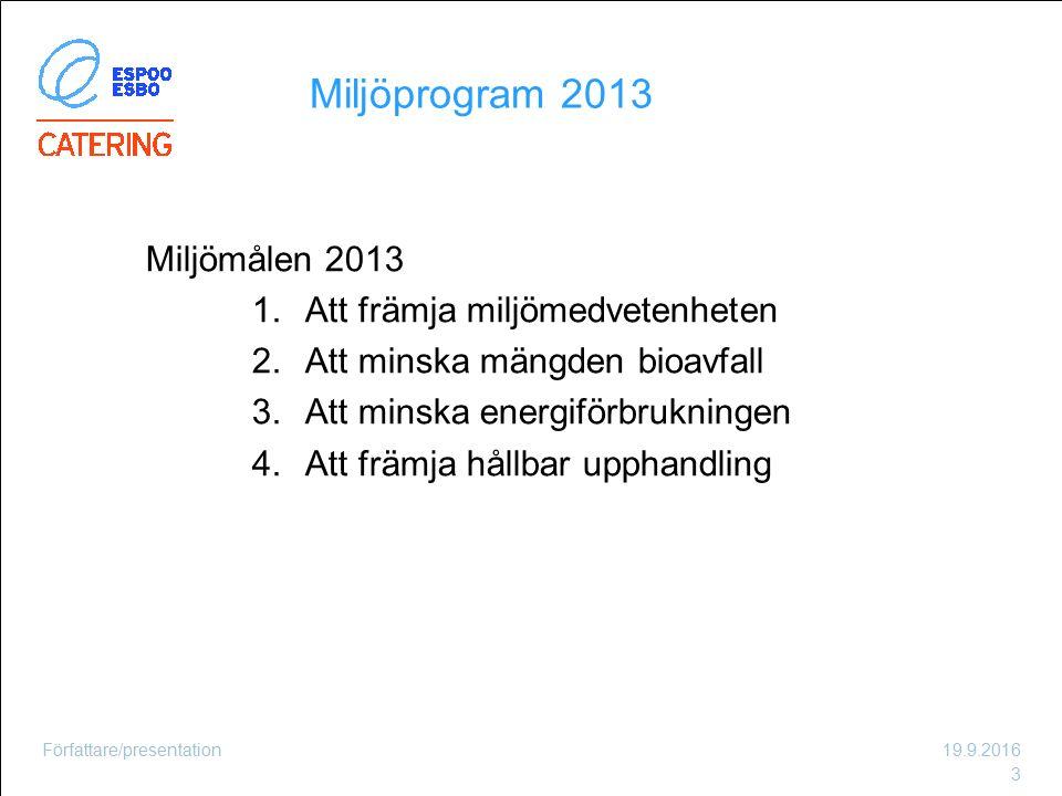 Miljöprogram 2013 Miljömålen 2013 1.Att främja miljömedvetenheten 2.Att minska mängden bioavfall 3.Att minska energiförbrukningen 4.Att främja hållbar upphandling 19.9.2016Författare/presentation 3