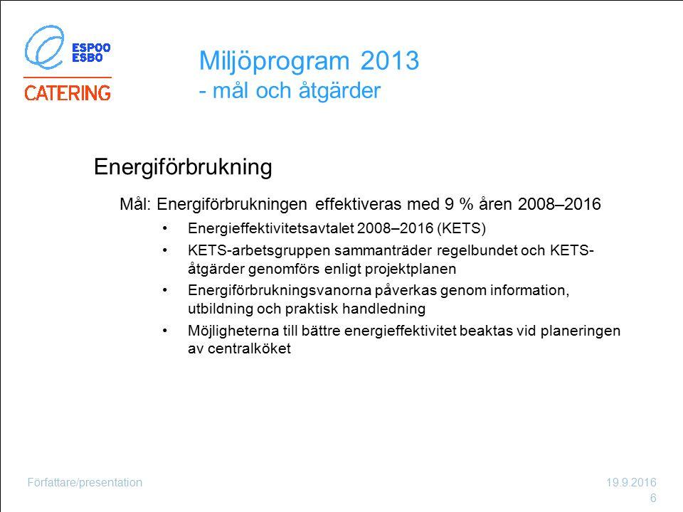 Energiförbrukning Mål: Energiförbrukningen effektiveras med 9 % åren 2008–2016 Energieffektivitetsavtalet 2008–2016 (KETS) KETS-arbetsgruppen sammantr