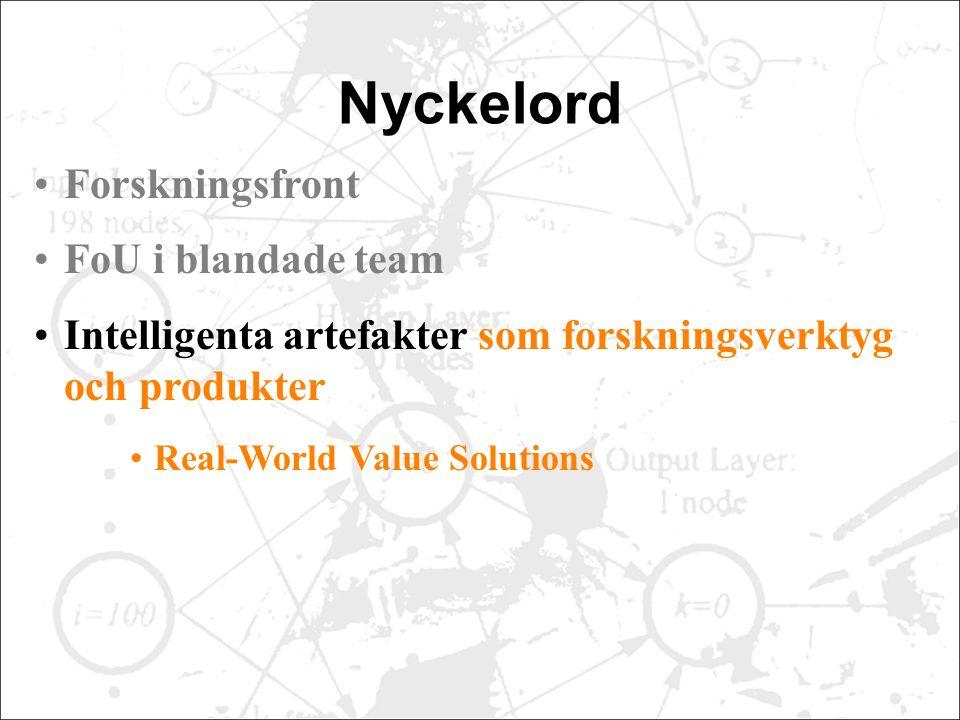Nyckelord Forskningsfront FoU i blandade team Intelligenta artefakter som forskningsverktyg och produkter Real-World Value Solutions