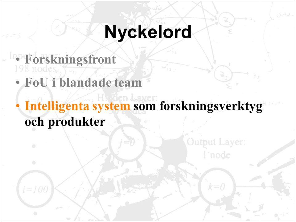 Nyckelord Forskningsfront FoU i blandade team Intelligenta system som forskningsverktyg och produkter