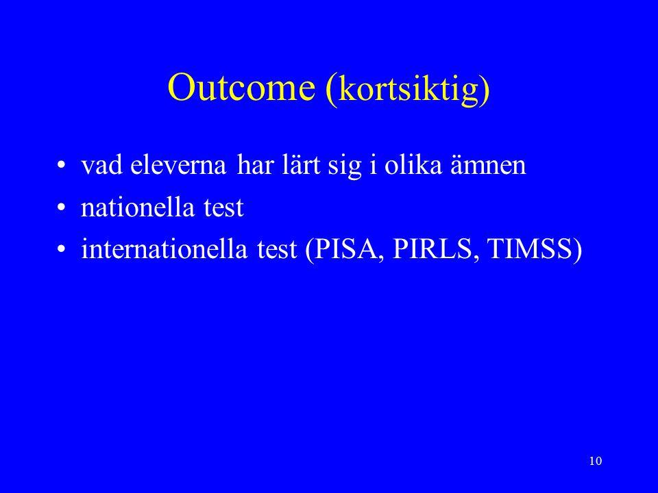 10 Outcome ( kortsiktig) vad eleverna har lärt sig i olika ämnen nationella test internationella test (PISA, PIRLS, TIMSS)