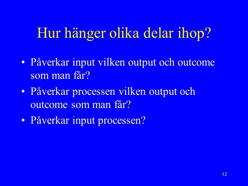 12 Hur hänger olika delar ihop. Påverkar input vilken output och outcome som man får.