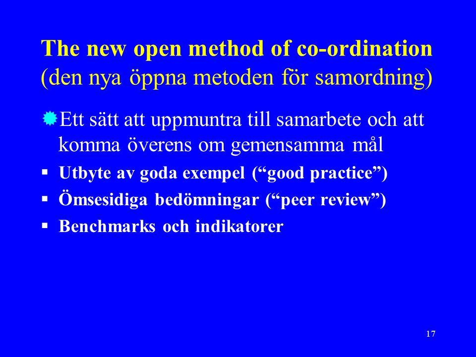 17 The new open method of co-ordination (den nya öppna metoden för samordning)  Ett sätt att uppmuntra till samarbete och att komma överens om gemensamma mål  Utbyte av goda exempel ( good practice )  Ömsesidiga bedömningar ( peer review )  Benchmarks och indikatorer