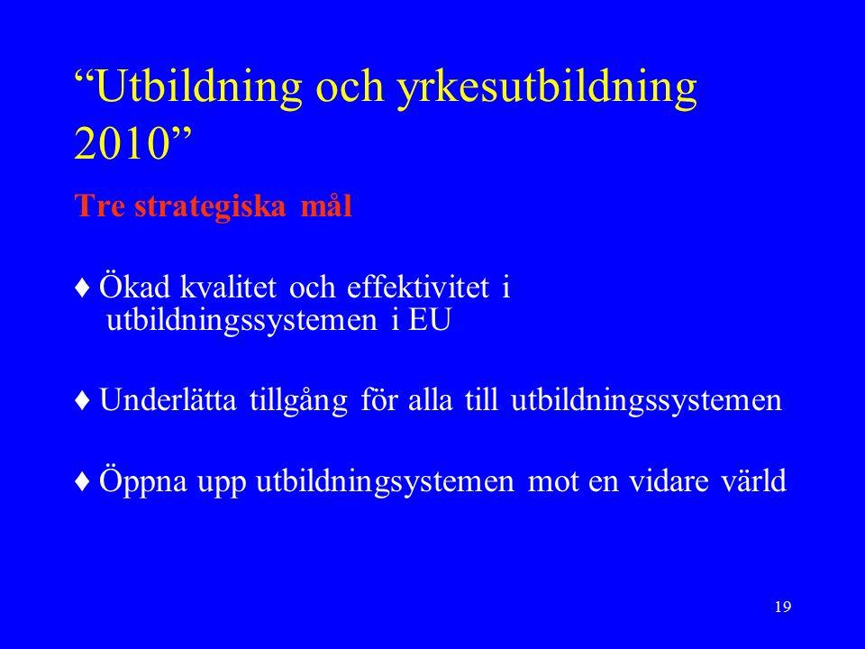 19 Utbildning och yrkesutbildning 2010 Tre strategiska mål ♦ Ökad kvalitet och effektivitet i utbildningssystemen i EU ♦ Underlätta tillgång för alla till utbildningssystemen ♦ Öppna upp utbildningsystemen mot en vidare värld
