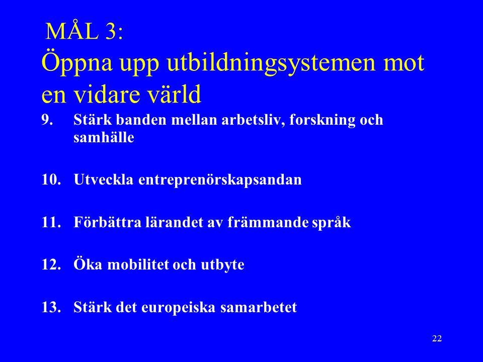 22 MÅL 3: Öppna upp utbildningsystemen mot en vidare värld 9.