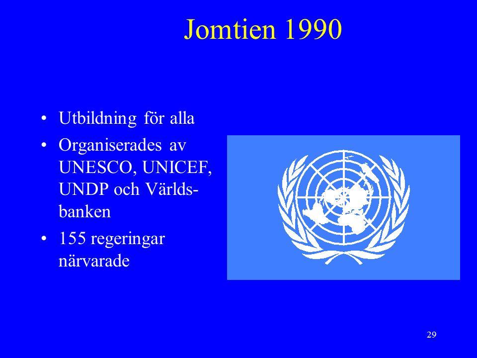 29 Jomtien 1990 Utbildning för alla Organiserades av UNESCO, UNICEF, UNDP och Världs- banken 155 regeringar närvarade