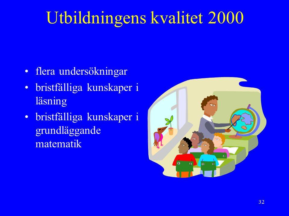 32 Utbildningens kvalitet 2000 flera undersökningar bristfälliga kunskaper i läsning bristfälliga kunskaper i grundläggande matematik