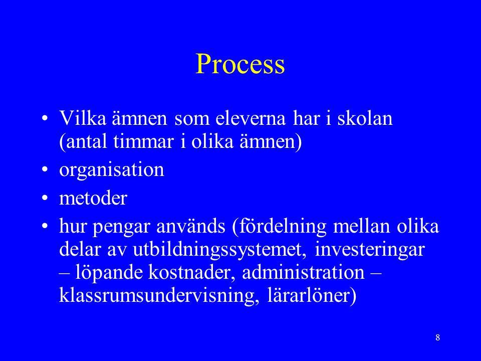 8 Process Vilka ämnen som eleverna har i skolan (antal timmar i olika ämnen) organisation metoder hur pengar används (fördelning mellan olika delar av utbildningssystemet, investeringar – löpande kostnader, administration – klassrumsundervisning, lärarlöner)