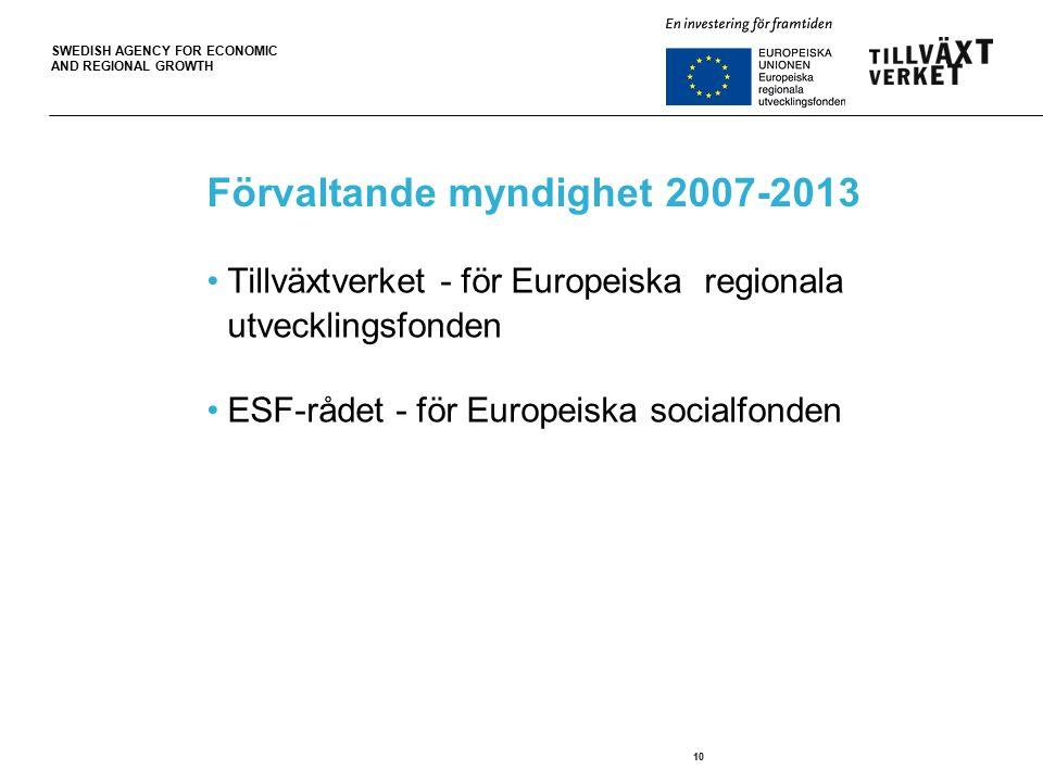 SWEDISH AGENCY FOR ECONOMIC AND REGIONAL GROWTH 10 Förvaltande myndighet 2007-2013 Tillväxtverket - för Europeiska regionala utvecklingsfonden ESF-rådet - för Europeiska socialfonden