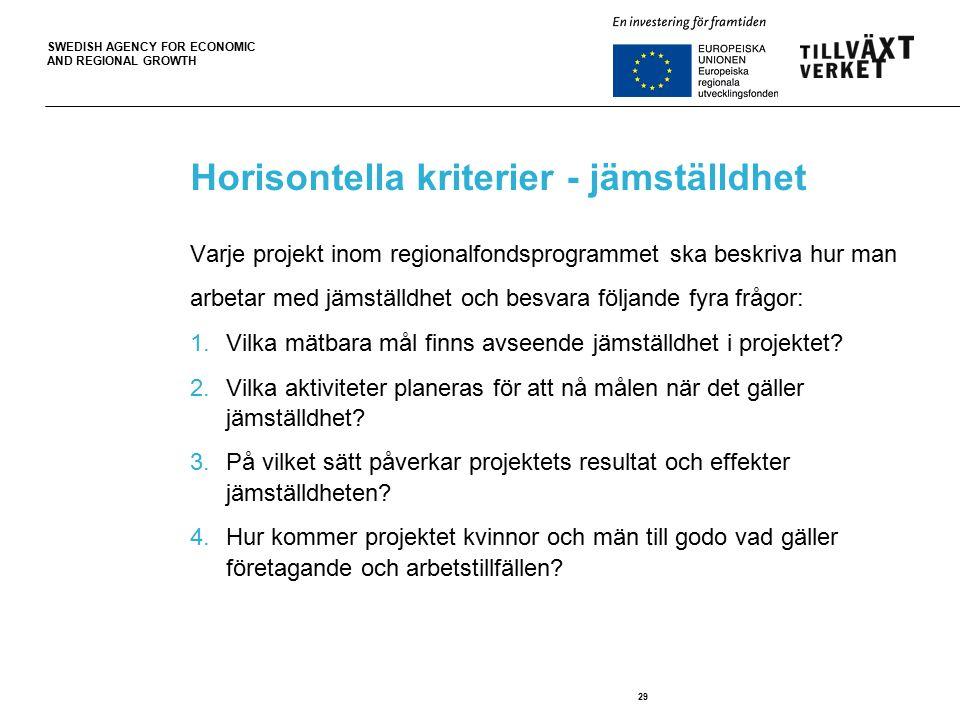 SWEDISH AGENCY FOR ECONOMIC AND REGIONAL GROWTH 29 Horisontella kriterier - jämställdhet Varje projekt inom regionalfondsprogrammet ska beskriva hur man arbetar med jämställdhet och besvara följande fyra frågor: 1.Vilka mätbara mål finns avseende jämställdhet i projektet.