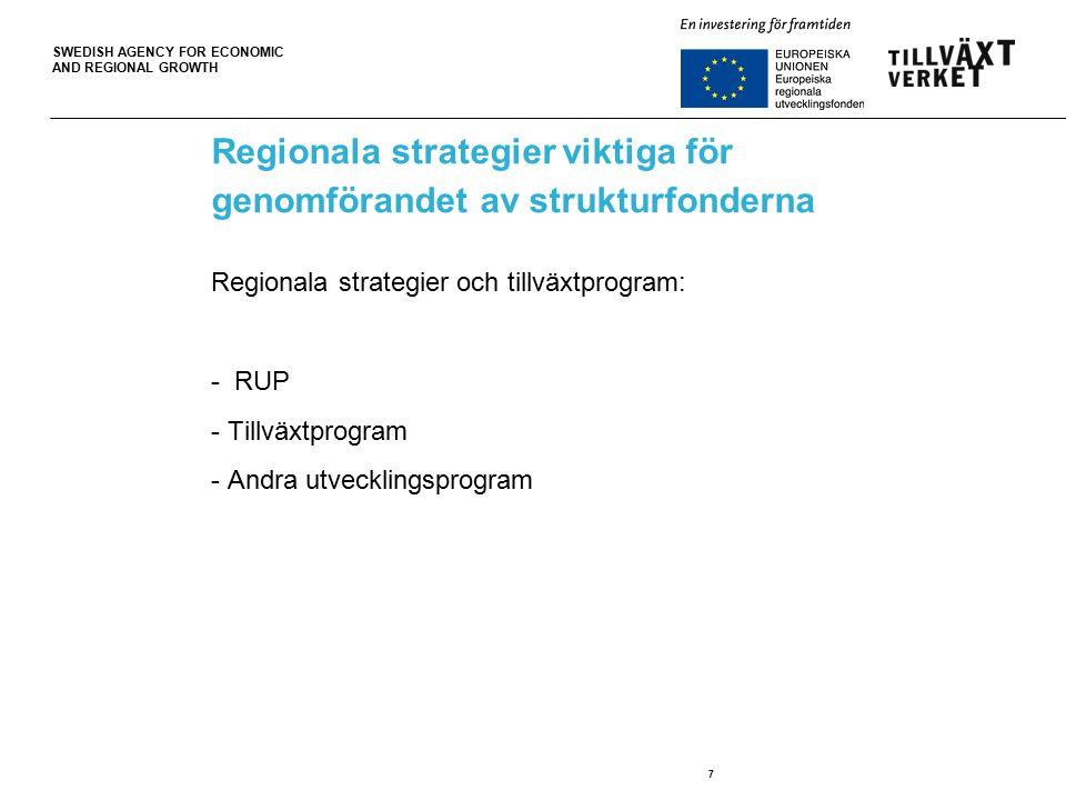 SWEDISH AGENCY FOR ECONOMIC AND REGIONAL GROWTH 7 Regionala strategier viktiga för genomförandet av strukturfonderna Regionala strategier och tillväxtprogram: - RUP - Tillväxtprogram - Andra utvecklingsprogram