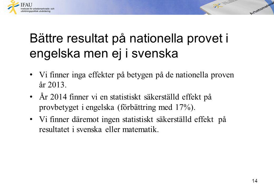 Bättre resultat på nationella provet i engelska men ej i svenska Vi finner inga effekter på betygen på de nationella proven år 2013. År 2014 finner vi