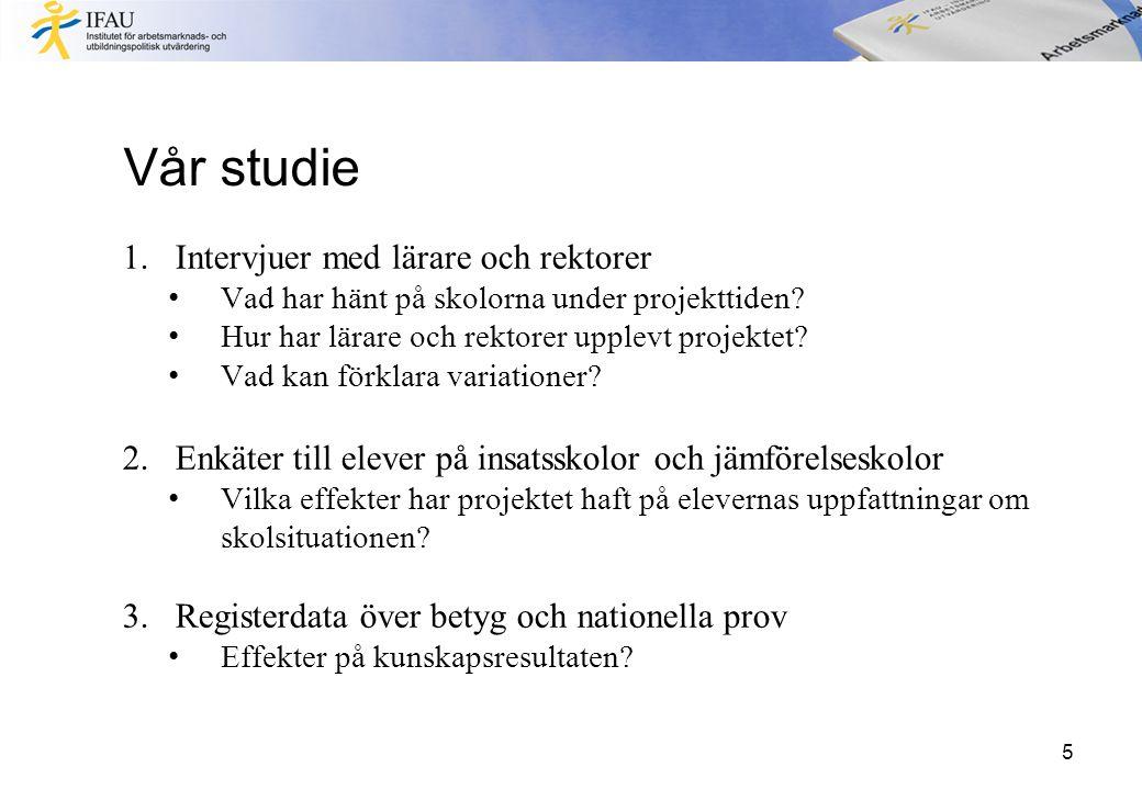 Slutsatser Positiva effekter på betyg och klassrumssituationen: Stämningen i klassrummet verkar ha förbättrats och eleverna uppger att lärarna undervisar bättre (Stora) positiva effekter på betyg i engelska och svenska som andraspråk, samt på det nationella provet i engelska För elever som är födda i Sverige eller invandrade för mer än fyra år sedan finns även positiva effekter på meritvärdet 16