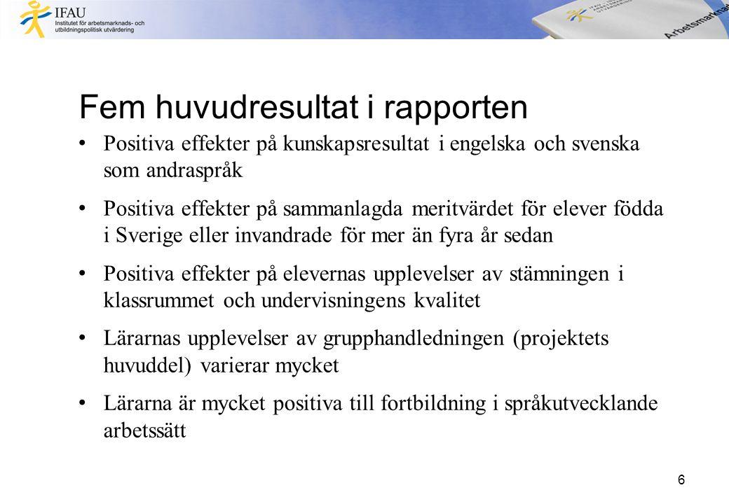 Fem huvudresultat i rapporten Positiva effekter på kunskapsresultat i engelska och svenska som andraspråk Positiva effekter på sammanlagda meritvärdet för elever födda i Sverige eller invandrade för mer än fyra år sedan Positiva effekter på elevernas upplevelser av stämningen i klassrummet och undervisningens kvalitet Lärarnas upplevelser av grupphandledningen (projektets huvuddel) varierar mycket Lärarna är mycket positiva till fortbildning i språkutvecklande arbetssätt 6