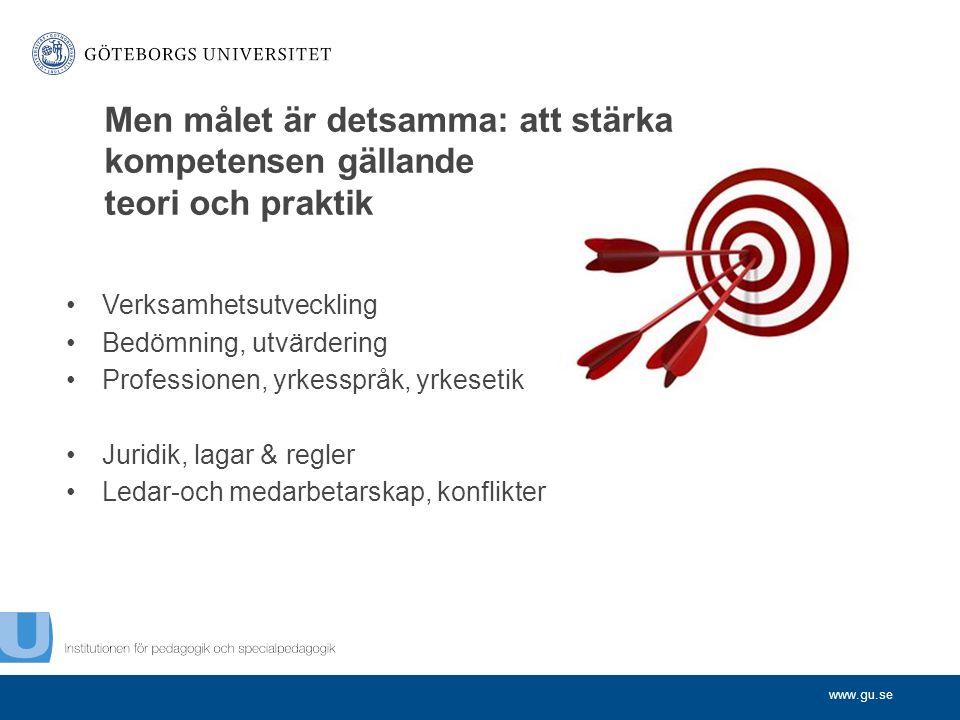 www.gu.se Verksamhetsutveckling Bedömning, utvärdering Professionen, yrkesspråk, yrkesetik Juridik, lagar & regler Ledar-och medarbetarskap, konflikter Men målet är detsamma: att stärka kompetensen gällande teori och praktik