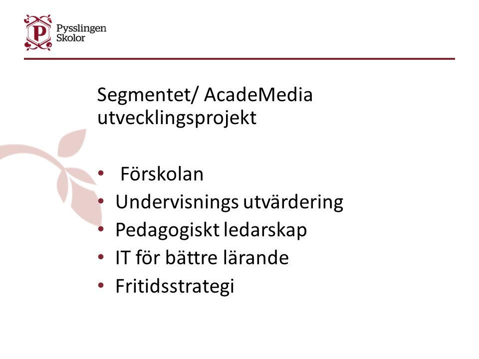 Segmentet/ AcadeMedia utvecklingsprojekt Förskolan Undervisnings utvärdering Pedagogiskt ledarskap IT för bättre lärande Fritidsstrategi