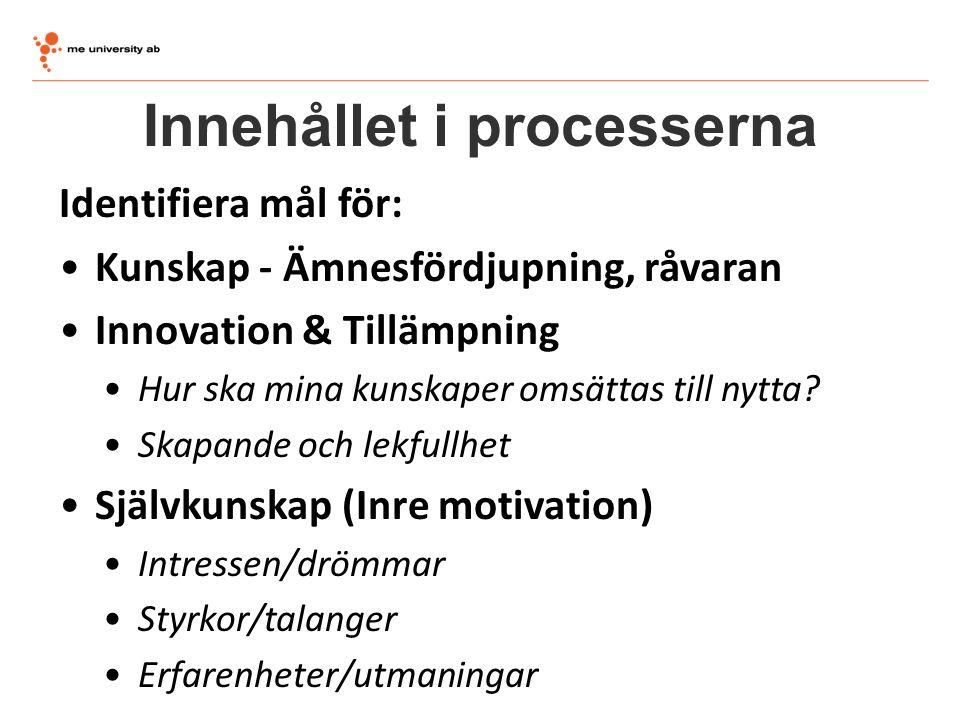 Innehållet i processerna Identifiera mål för: Kunskap - Ämnesfördjupning, råvaran Innovation & Tillämpning Hur ska mina kunskaper omsättas till nytta?