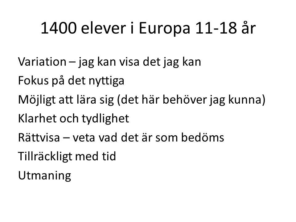 1400 elever i Europa 11-18 år Variation – jag kan visa det jag kan Fokus på det nyttiga Möjligt att lära sig (det här behöver jag kunna) Klarhet och t