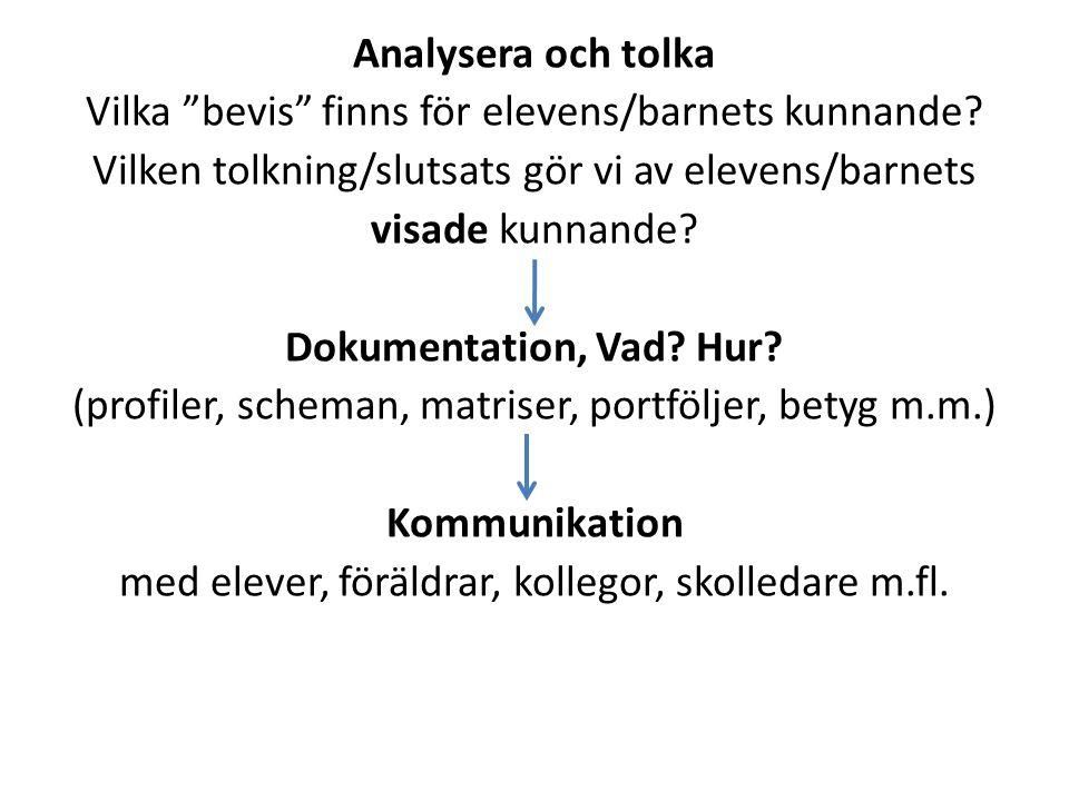 """Analysera och tolka Vilka """"bevis"""" finns för elevens/barnets kunnande? Vilken tolkning/slutsats gör vi av elevens/barnets visade kunnande? Dokumentatio"""