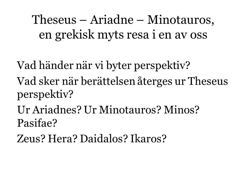 Theseus – Ariadne – Minotauros, en grekisk myts resa i en av oss Vad händer när vi byter perspektiv.