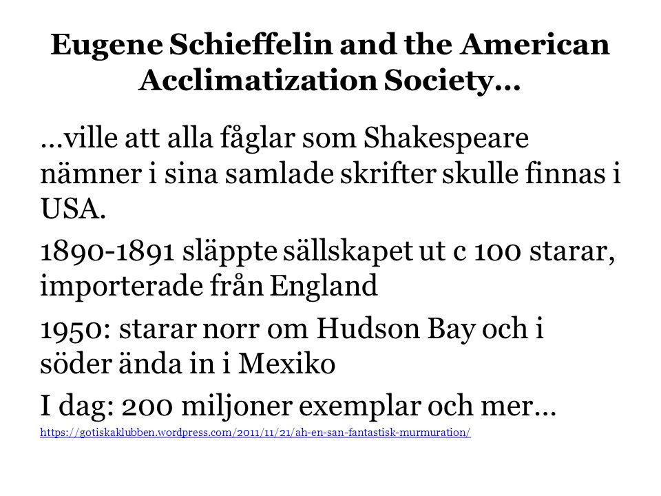 Eugene Schieffelin and the American Acclimatization Society… …ville att alla fåglar som Shakespeare nämner i sina samlade skrifter skulle finnas i USA.