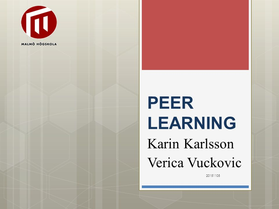 PEER LEARNING Karin Karlsson Verica Vuckovic 20151105