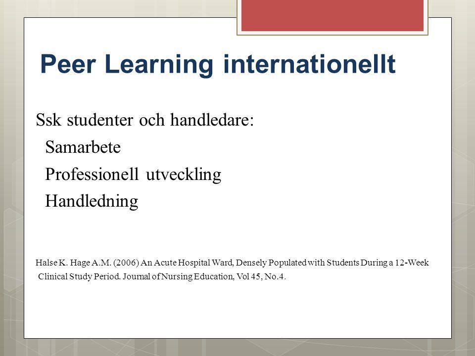 Peer Learning internationellt Ssk studenter och handledare: Samarbete Professionell utveckling Handledning Halse K. Hage A.M. (2006) An Acute Hospital