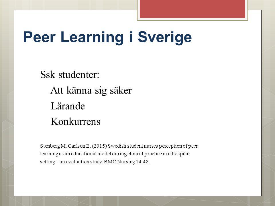 Peer Learning i Sverige Ssk studenter: Att känna sig säker Lärande Konkurrens Stenberg M. Carlson E. (2015) Swedish student nurses perception of peer