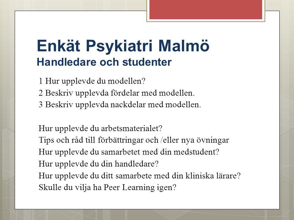Enkät Psykiatri Malmö Handledare och studenter 1 Hur upplevde du modellen? 2 Beskriv upplevda fördelar med modellen. 3 Beskriv upplevda nackdelar med
