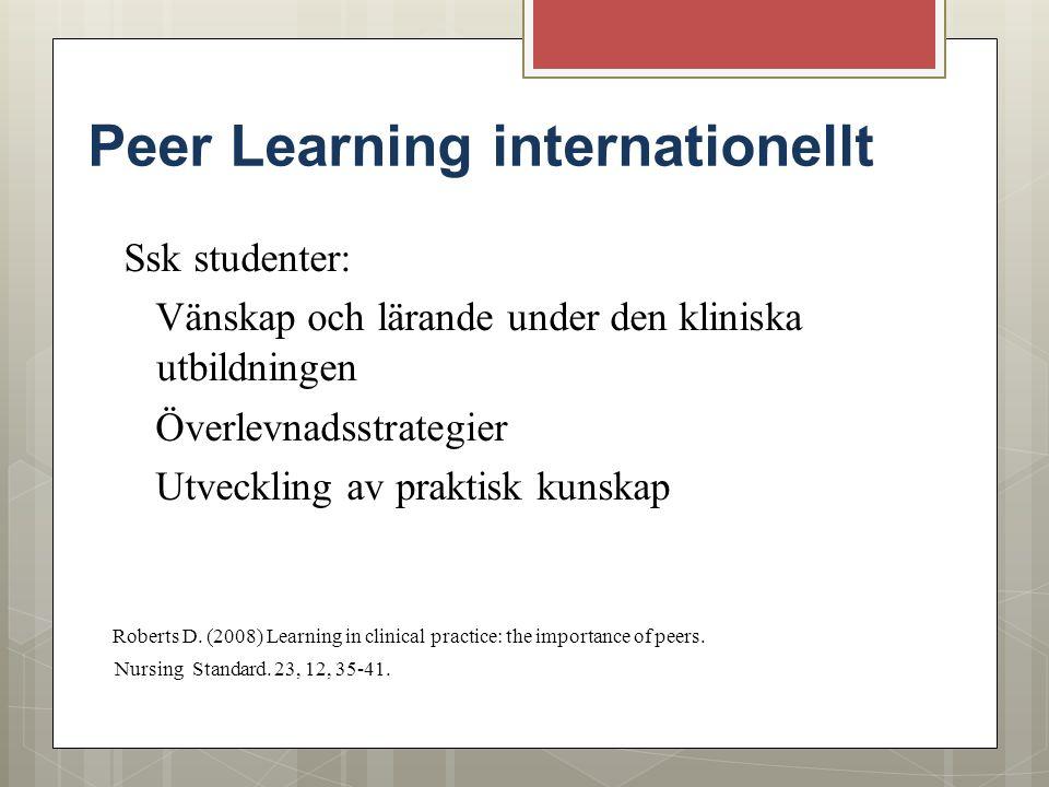 Peer Learning internationellt Ssk studenter: Vänskap och lärande under den kliniska utbildningen Överlevnadsstrategier Utveckling av praktisk kunskap