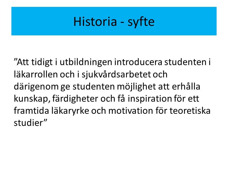Historia - syfte Att tidigt i utbildningen introducera studenten i läkarrollen och i sjukvårdsarbetet och därigenom ge studenten möjlighet att erhålla kunskap, färdigheter och få inspiration för ett framtida läkaryrke och motivation för teoretiska studier